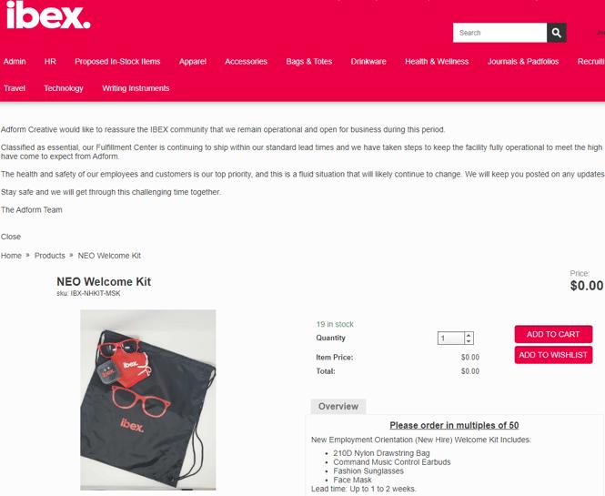 Ibex Welcome Kit